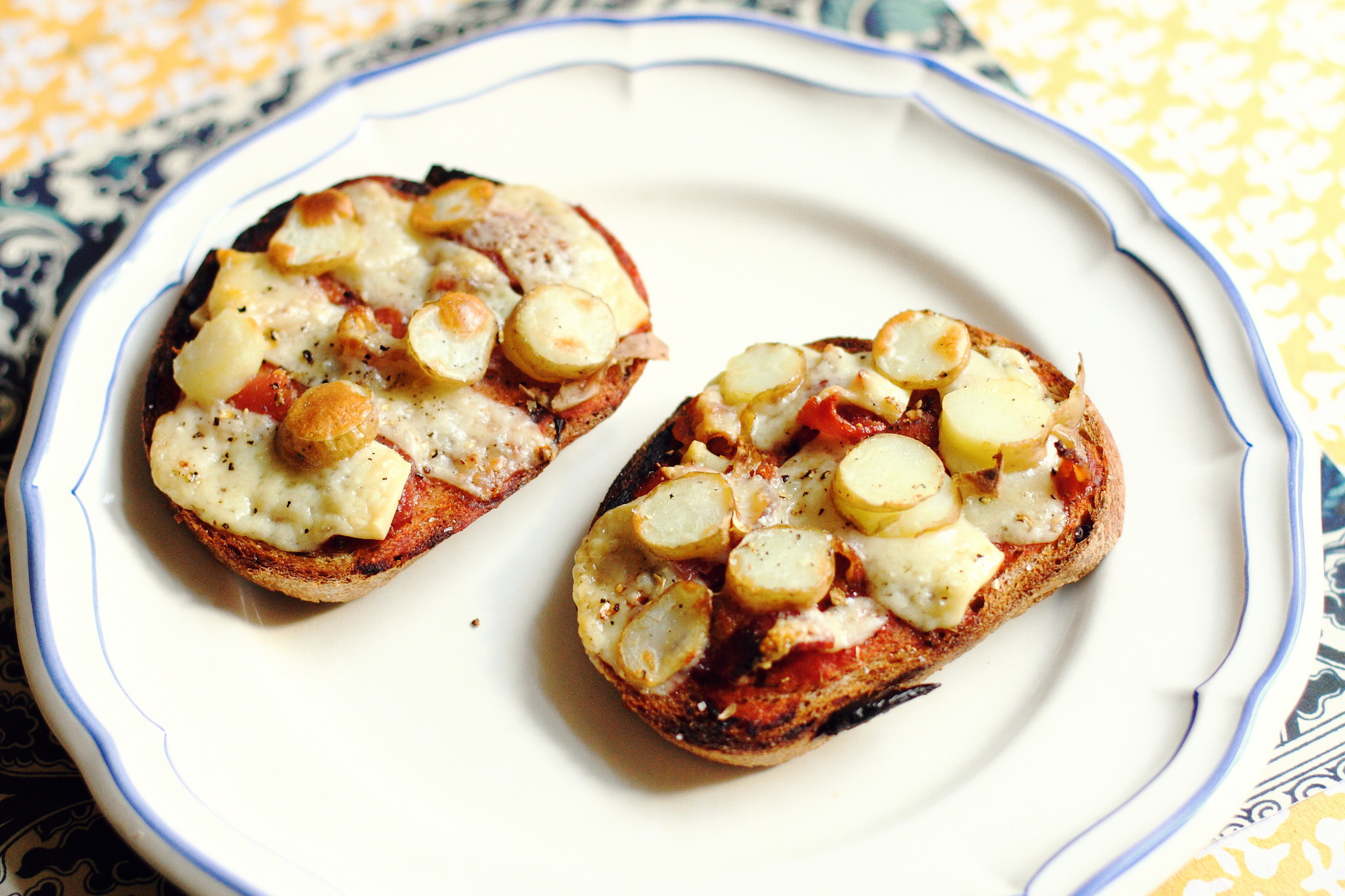 Bacon, Potato, and Cheese Tartine