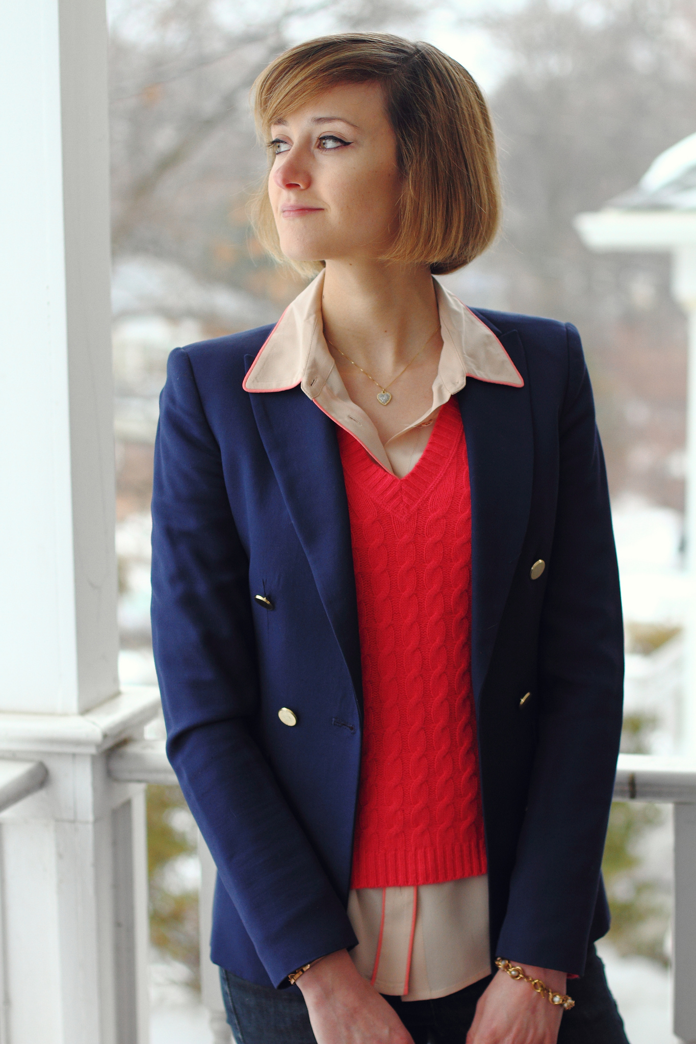 pink Equipment blouse and bright pink sweater