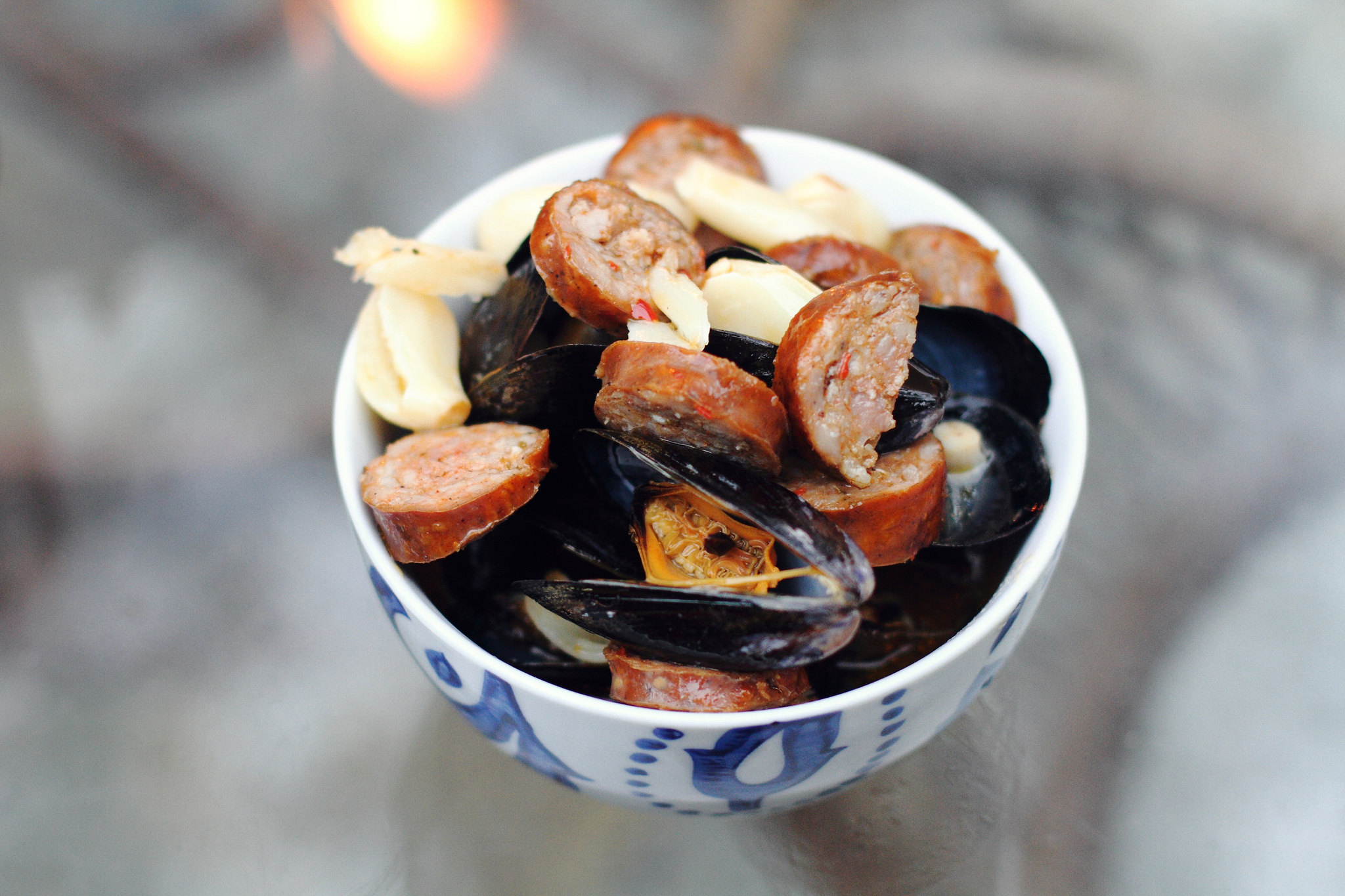 Beer and Andouille Sausage Grilled Mussels