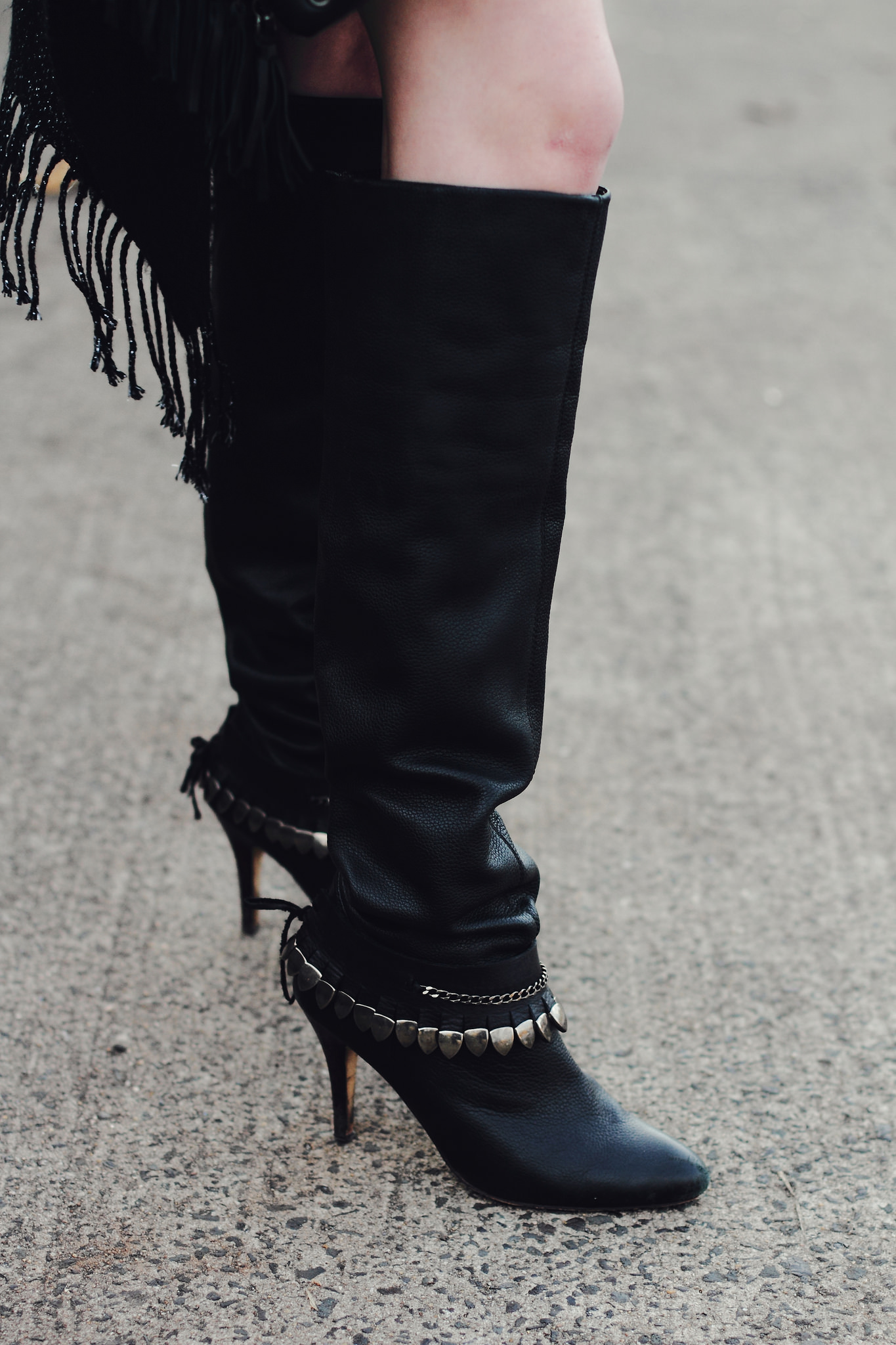 fringe shawl and over the knee boots