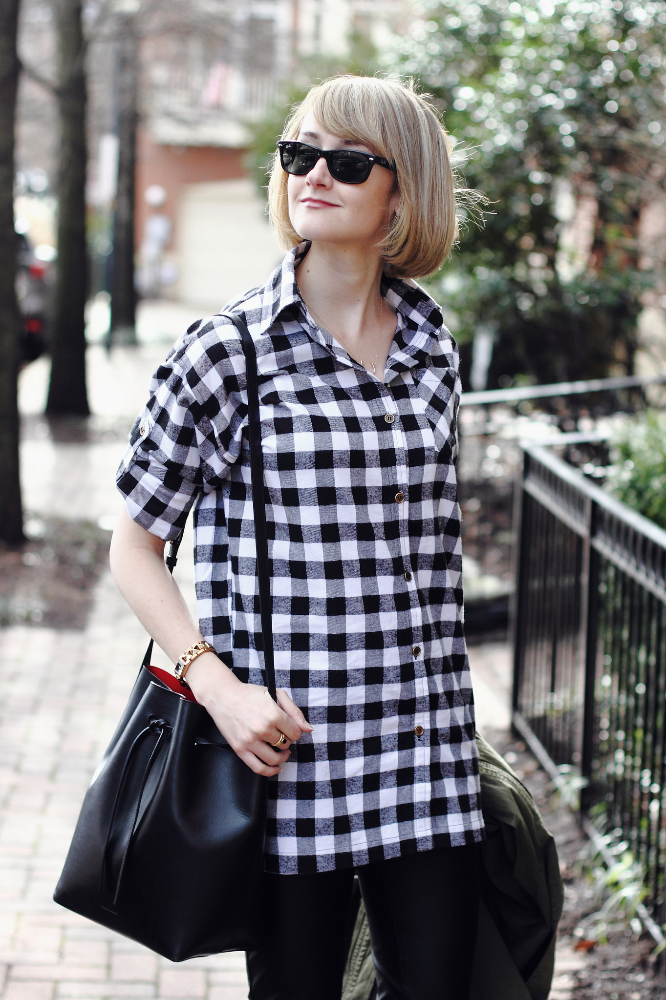 buffalo plaid and Mansur Gavriel bag