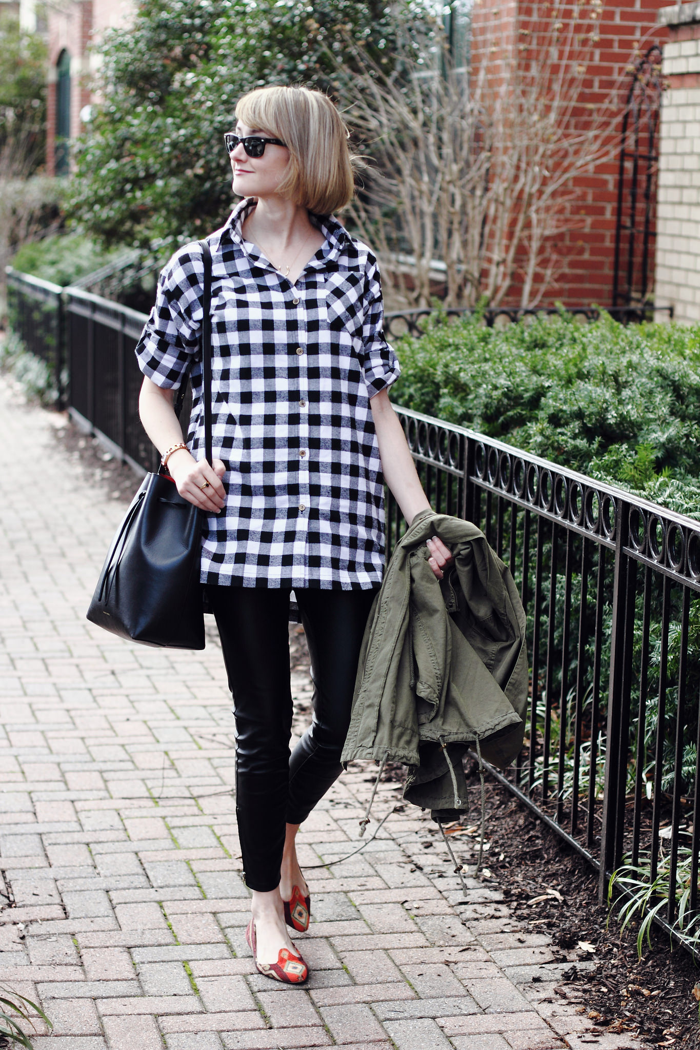 buffalo plaid and faux leather leggings