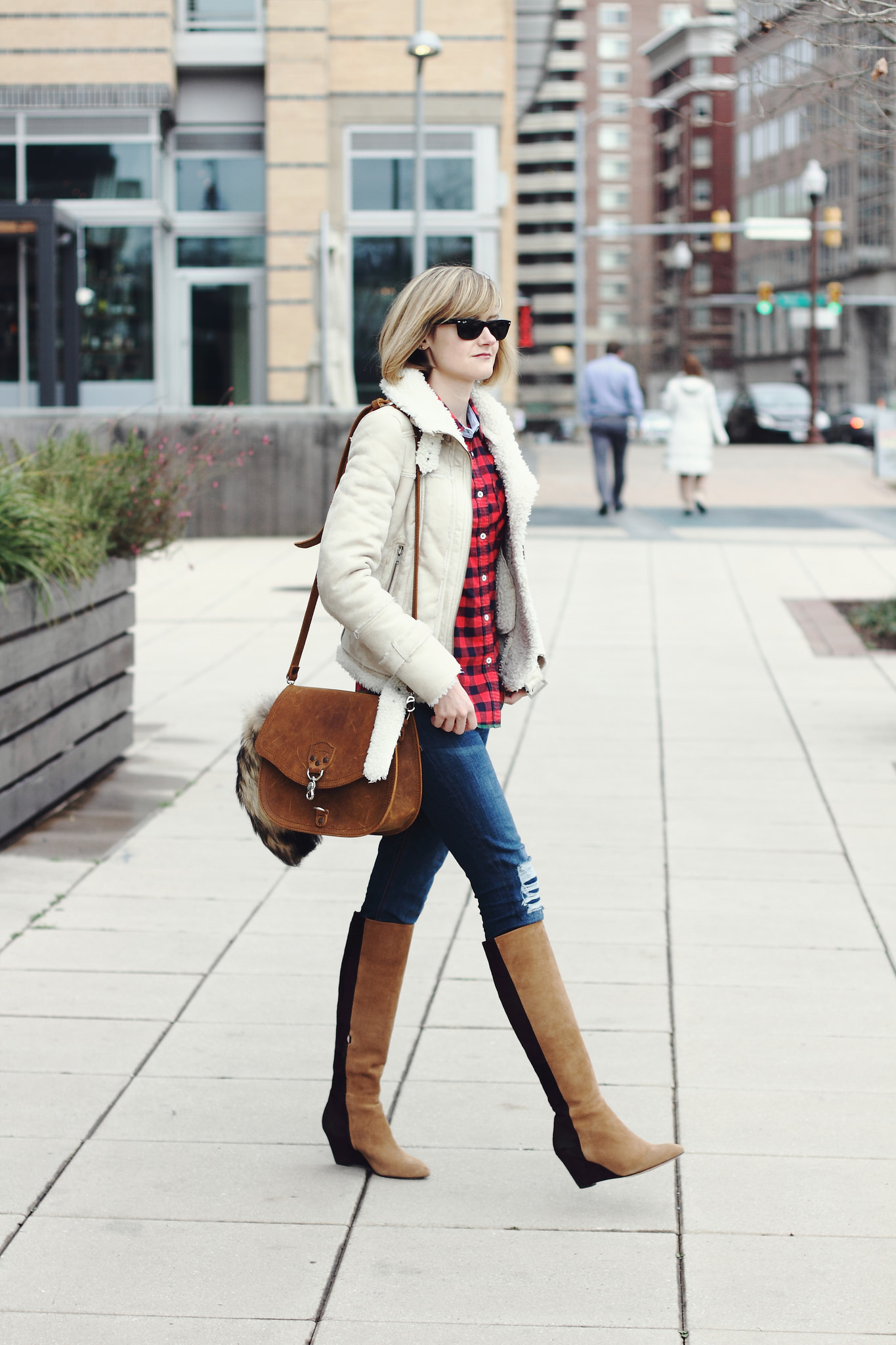 buffalo plaid shirt, Mango shearling jacket, and Saddleback leather bag
