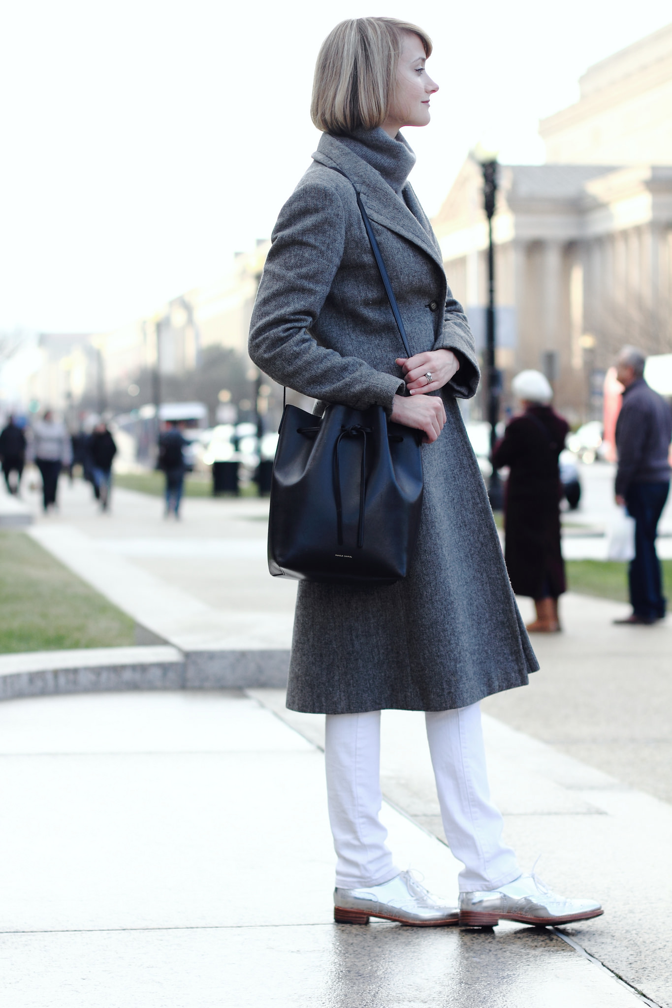 gray French Connection coat and Robert Clergerie brogues