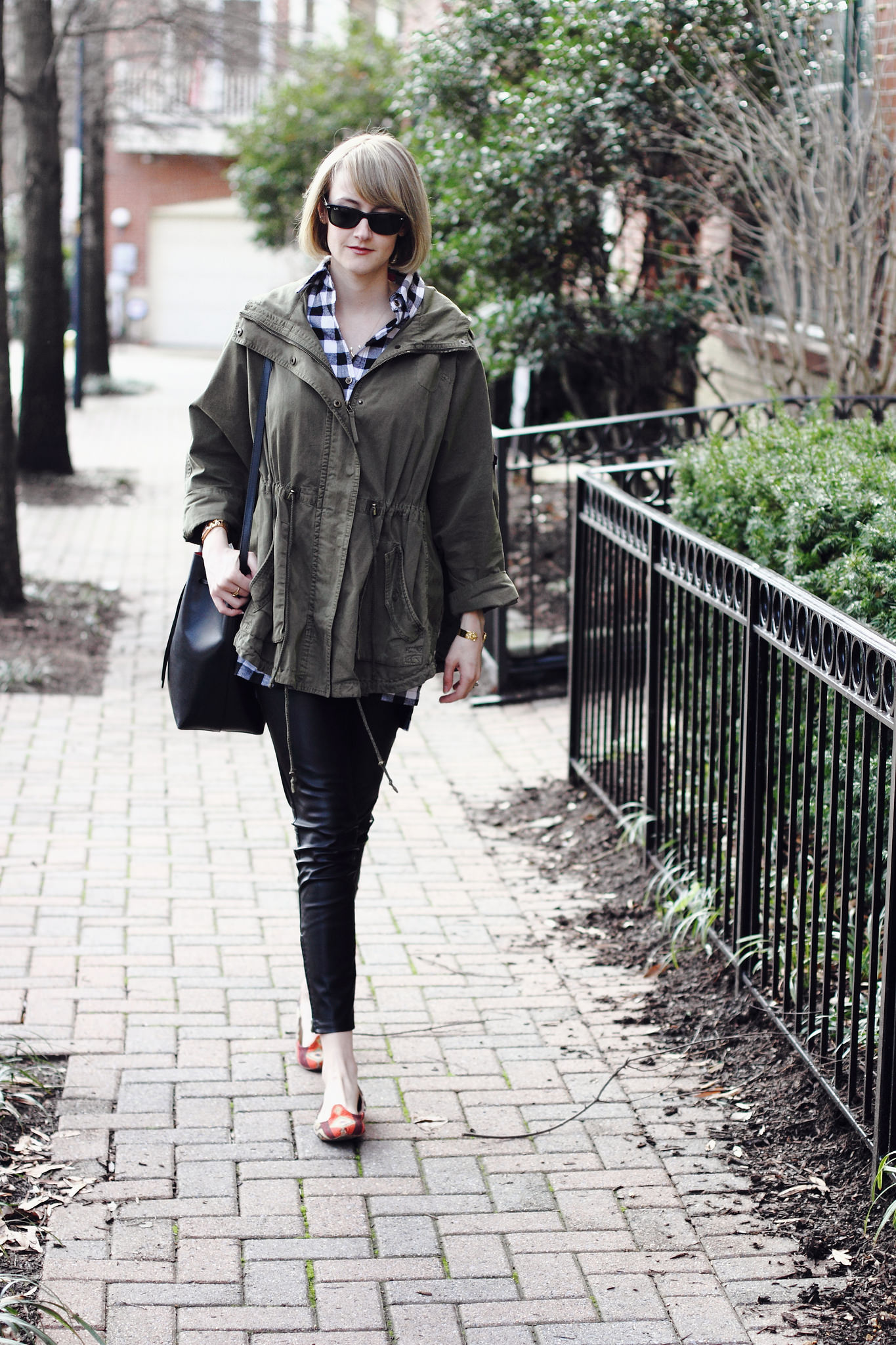 buffalo plaid and Topshop anorak