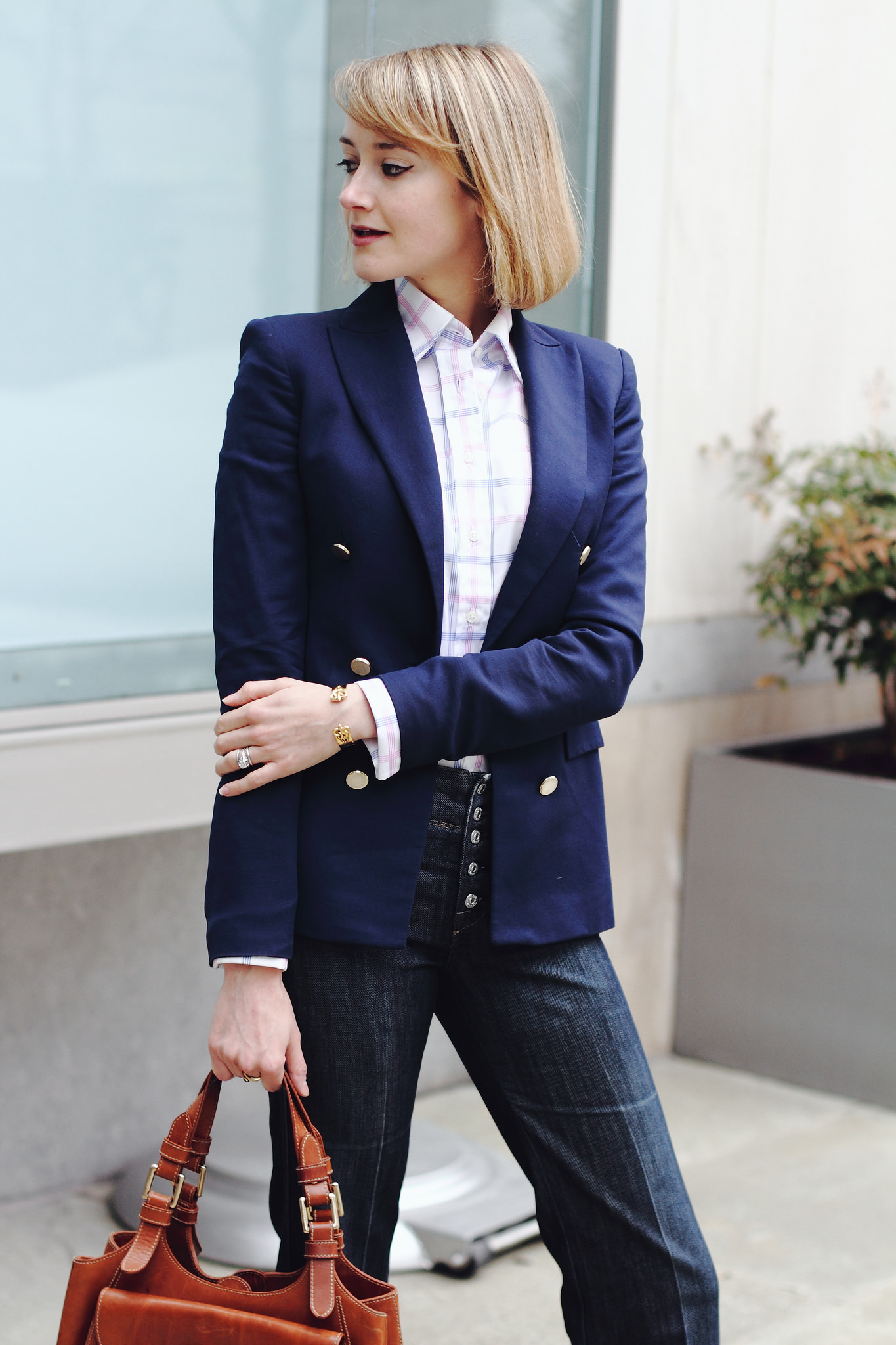 Zara blazer, french cuff button-down & 7FAM jeans