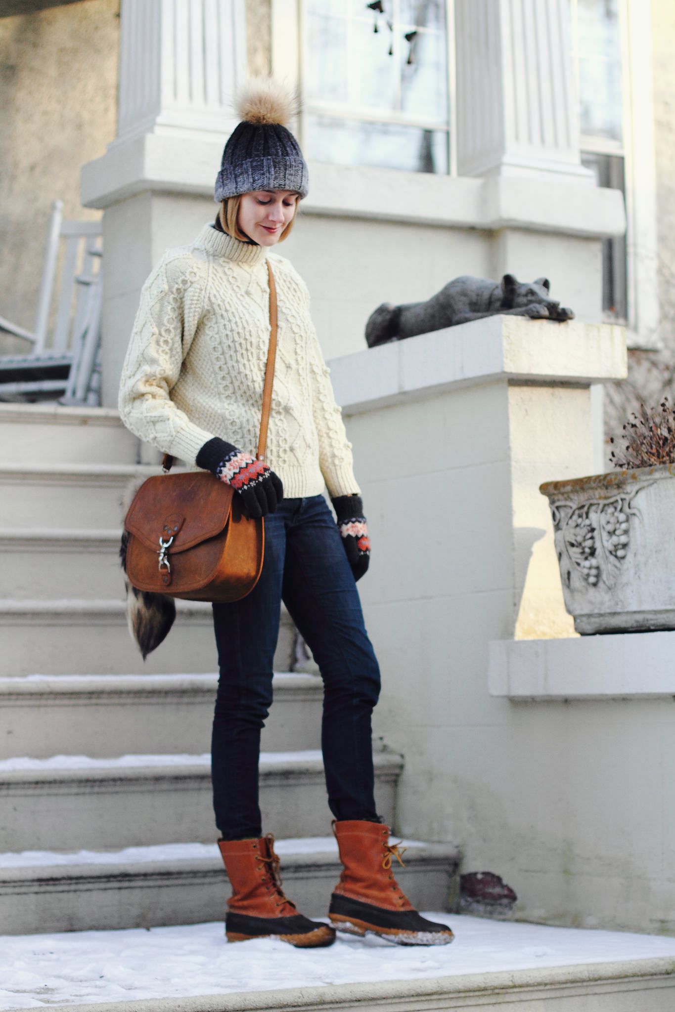 fishermans sweater and L.L. Bean duck boots