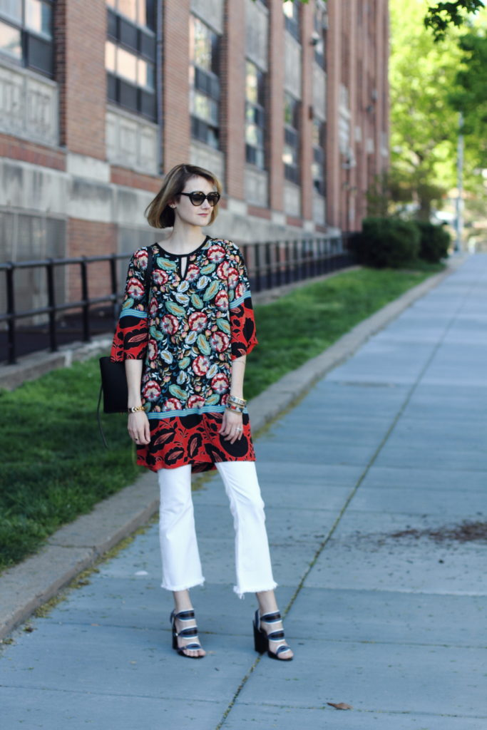print tunic and cropped denim
