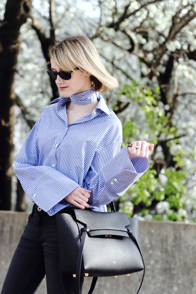 oversized sleeve shirt and Celine belt bag