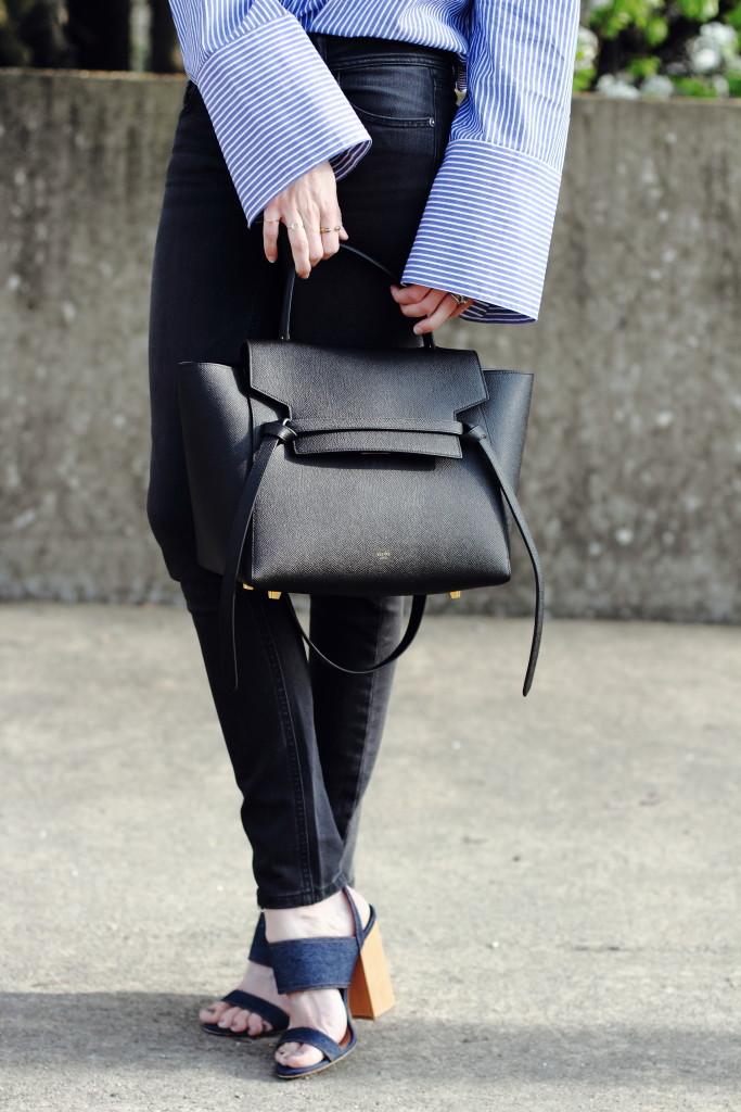 oversize sleeve shirt, skinny jeans and Celine belt bag