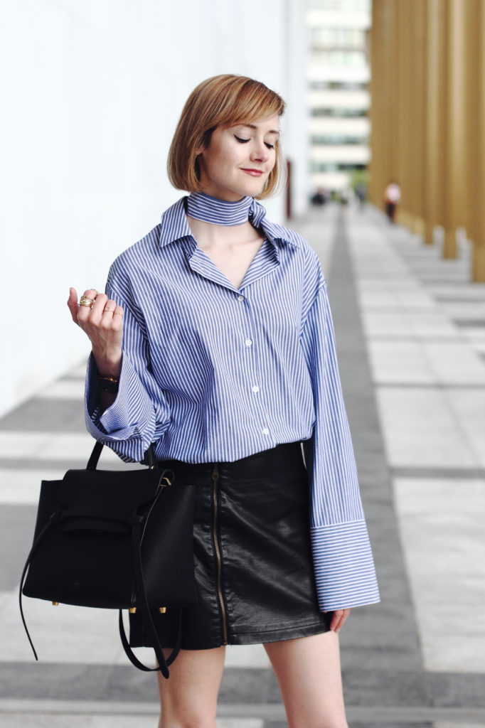 extra long sleeve shirt and leather skirt