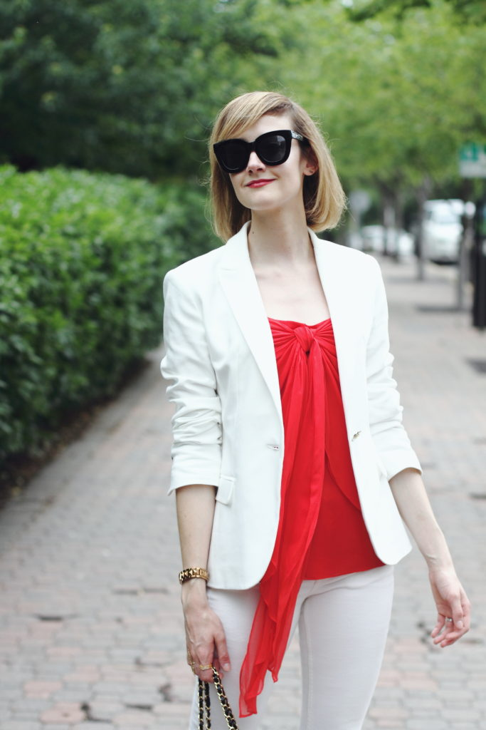 Zara white blazer and H&M white denim
