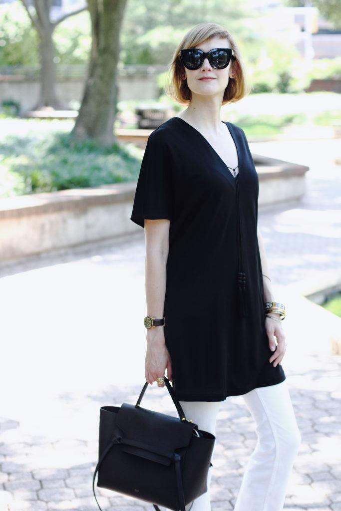 Mango dress, white denim & Celine bag