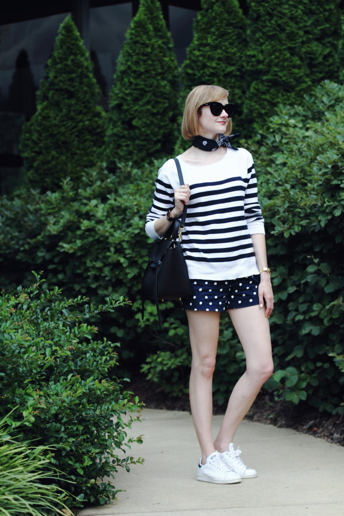 striped top and polka dot shorts