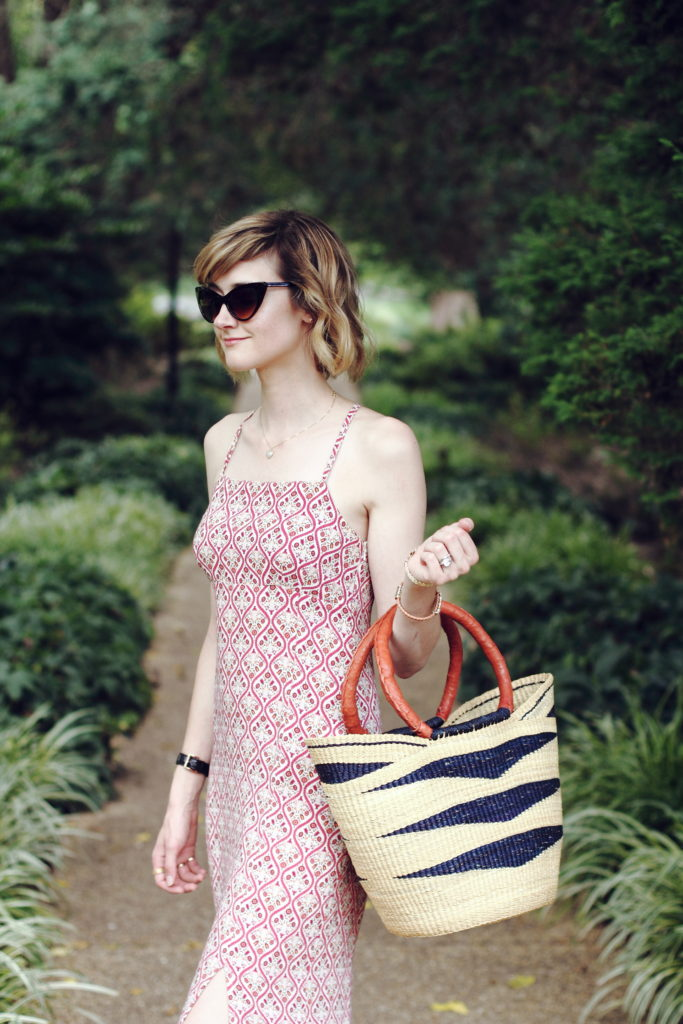 cat eye sunglasses and boho dress