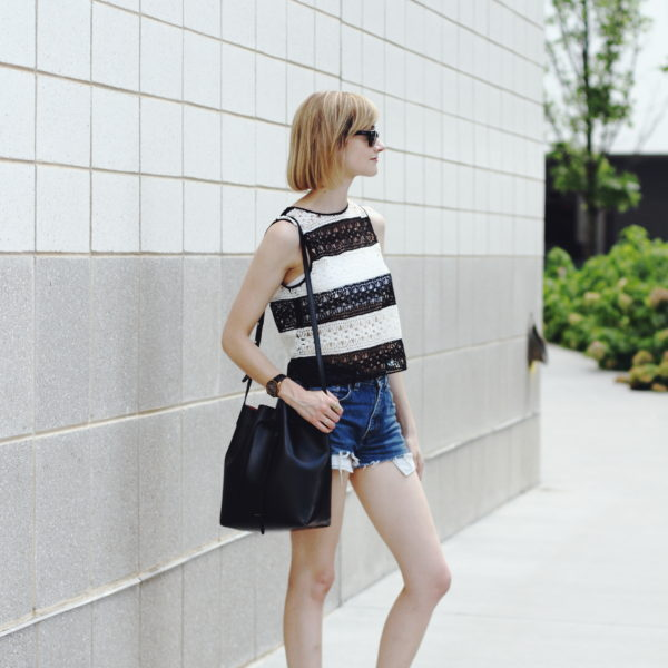 crochet crop top and cut-offs