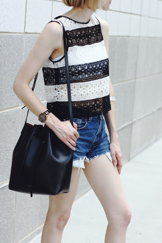 crochet crop top and cut-offs, Mansur Gavriel bag