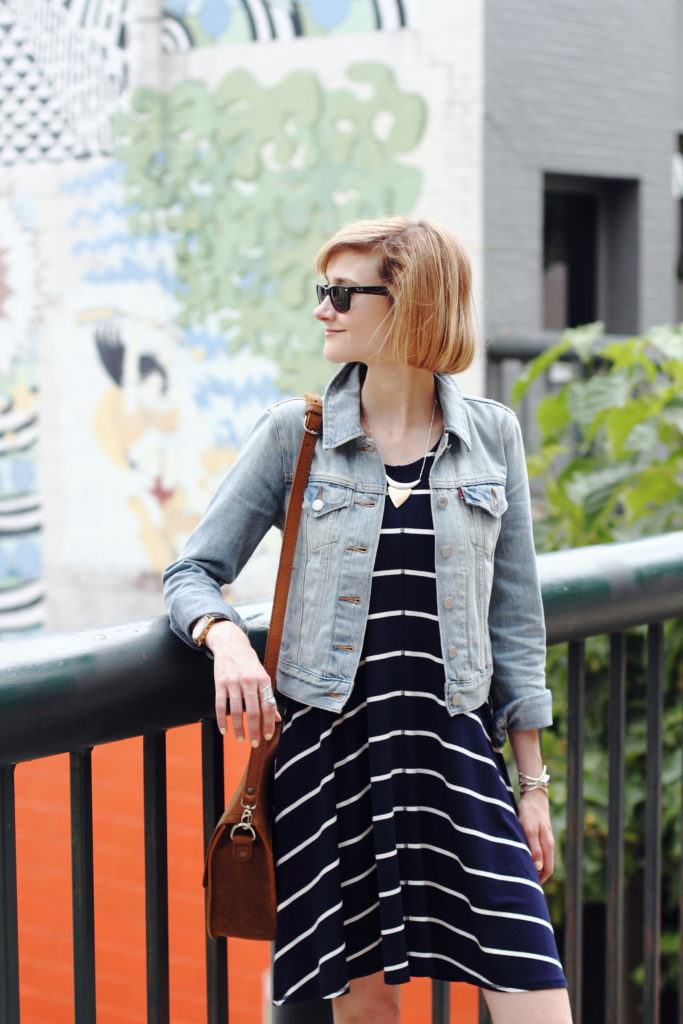 striped dress and denim jacket