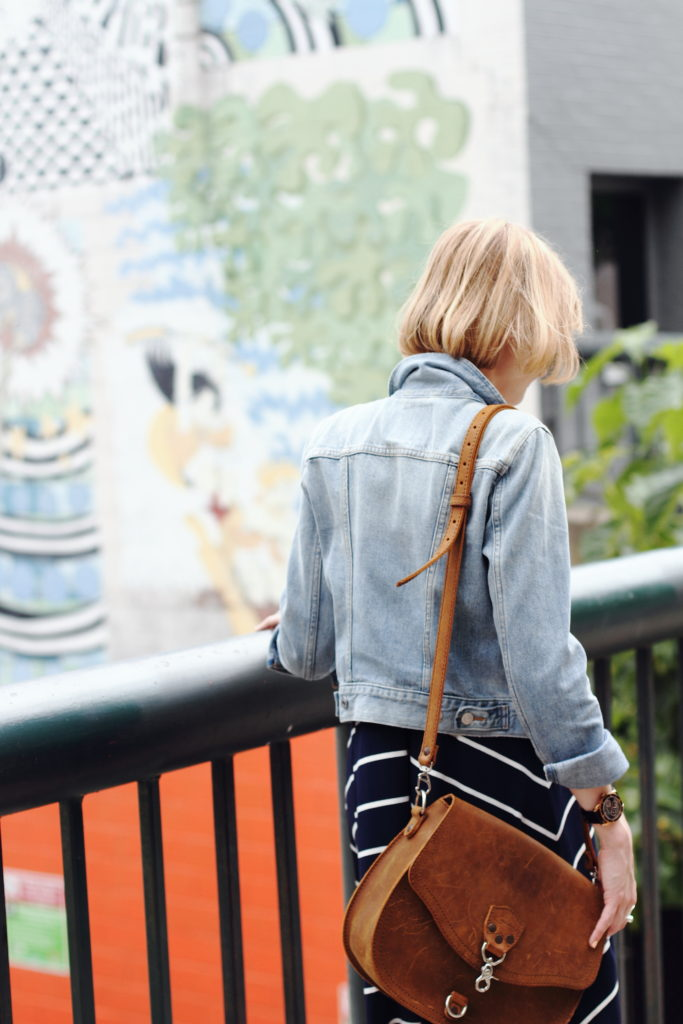 denim jacket and Saddleback Leather bag