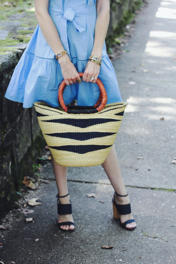 straw bag and Tabitha Simmons heels
