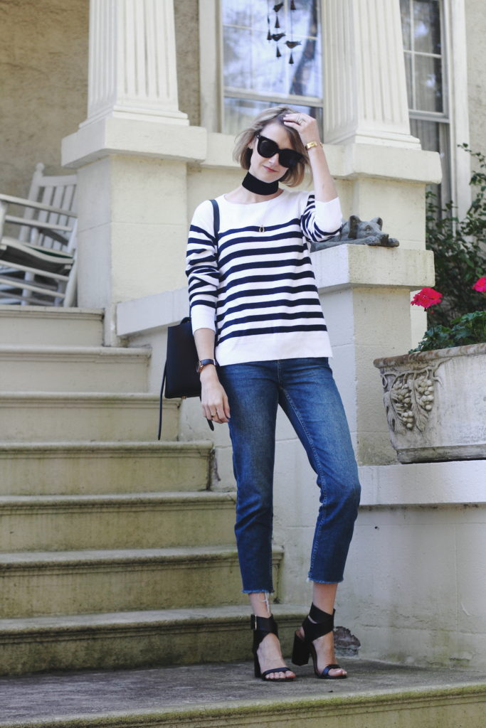 wide choker, striped sweater and raw edge denim