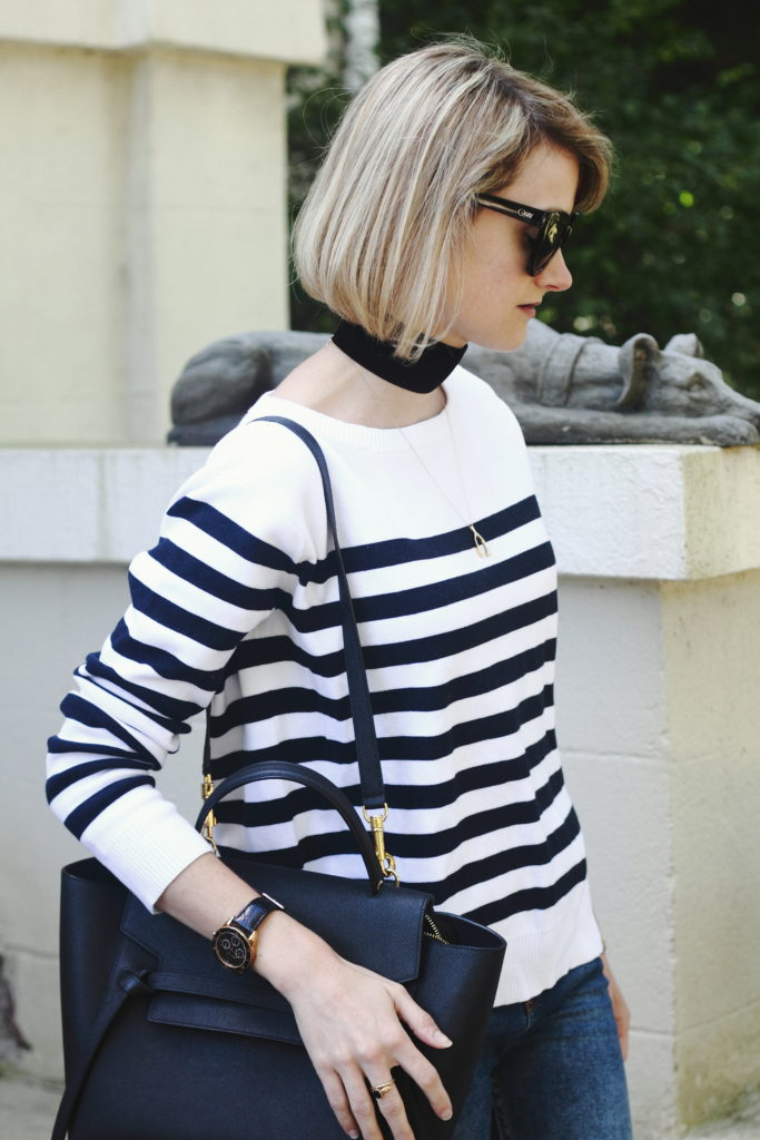 striped sweater and Celine bag