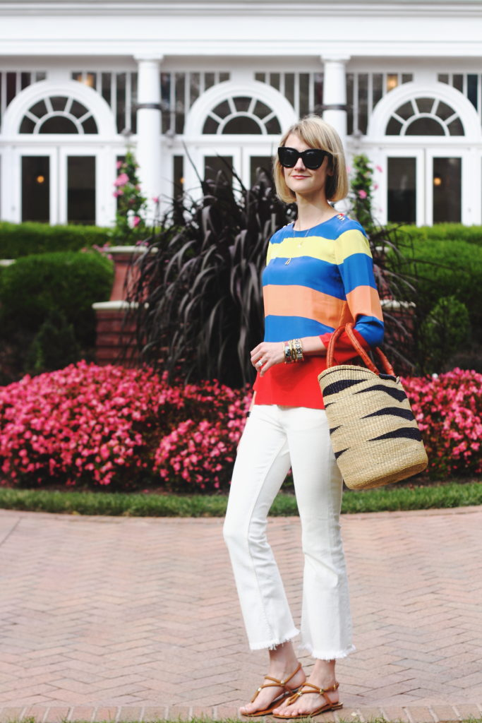 J. Crew striped top and H&M raw edge denim