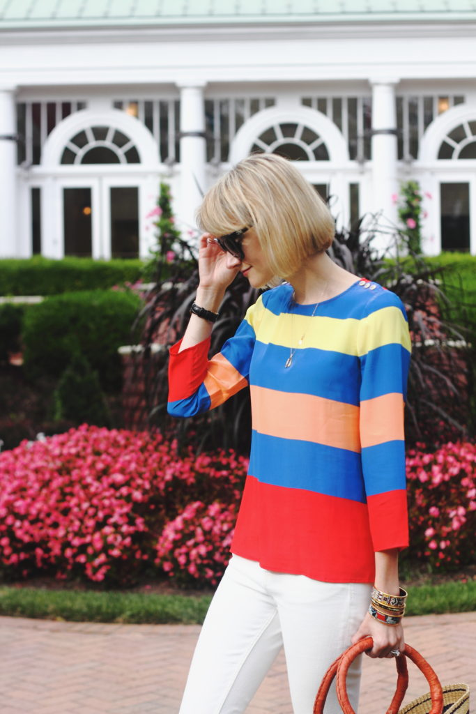 J. Crew striped top and basket bag