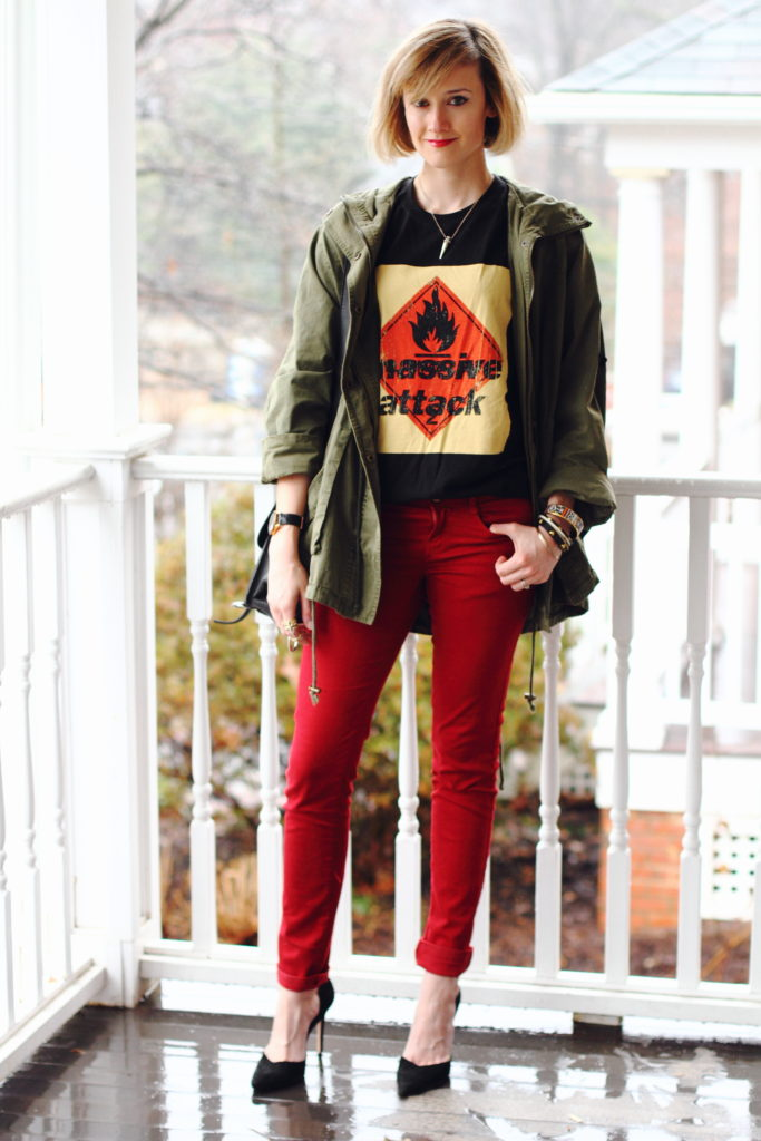 band t-shirt, anorak and red jeans