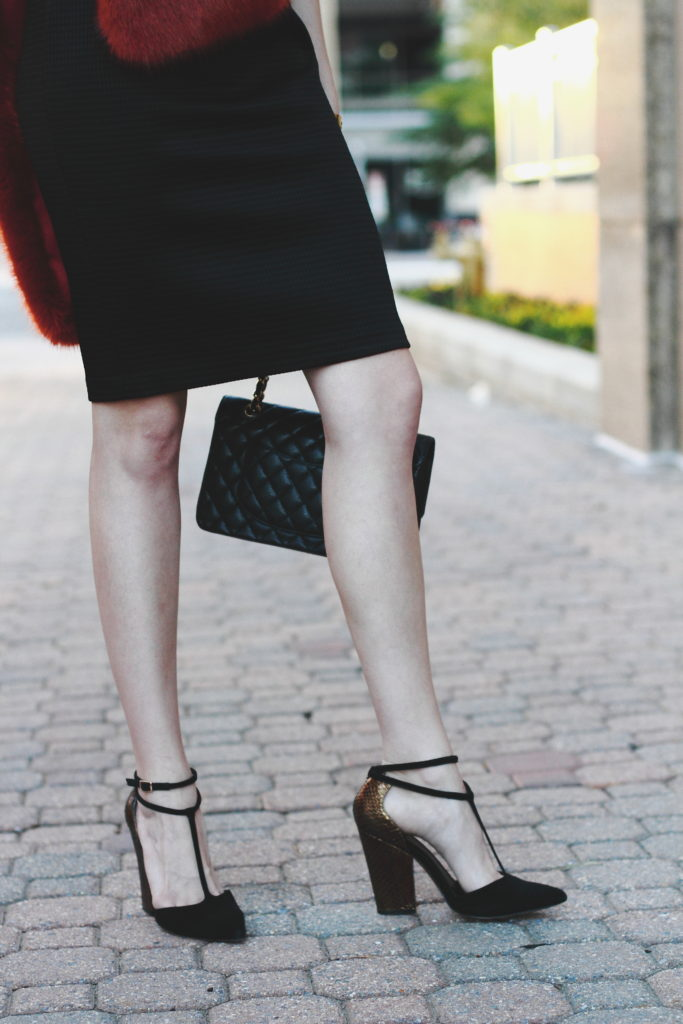 Jay Godfrey dress, Reiss heels, and Chanel bag