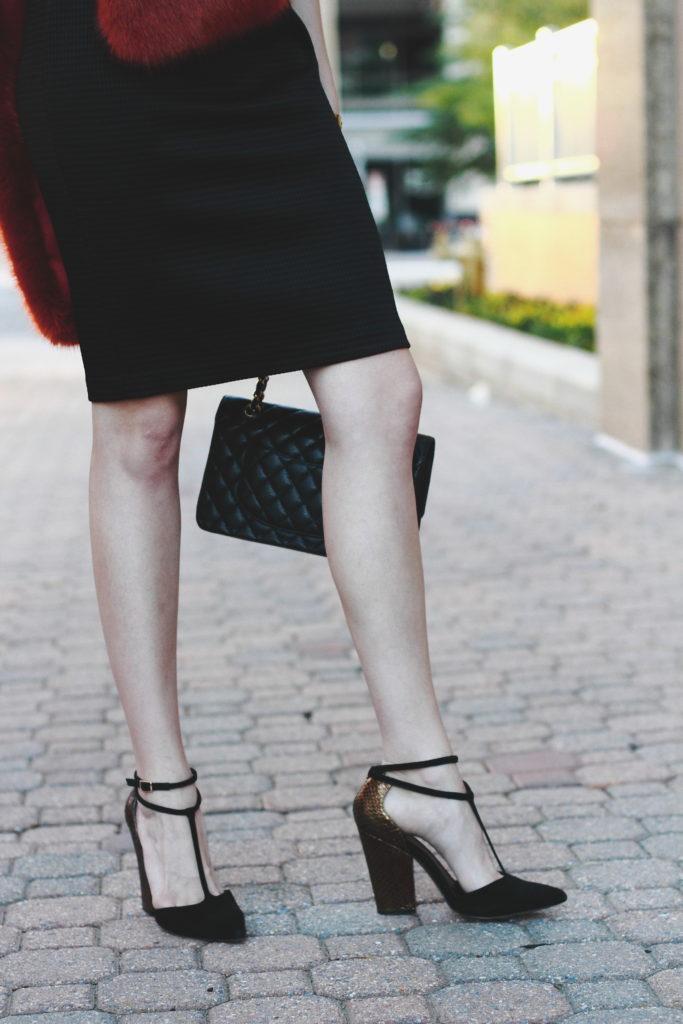 Jay Godfrey dress, Reiss heels, and Chanel bag