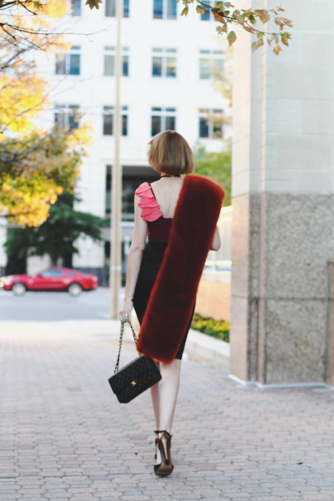 J.Crew faux fur scarf and Jay Godfrey dress
