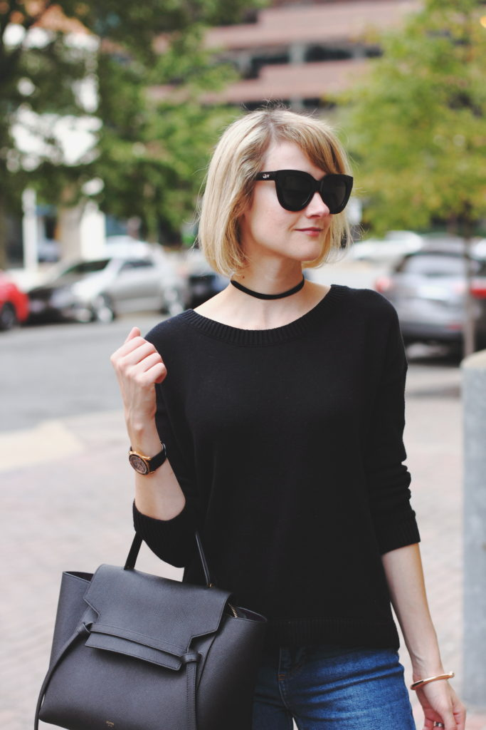choker, Express sweater and Celine bag