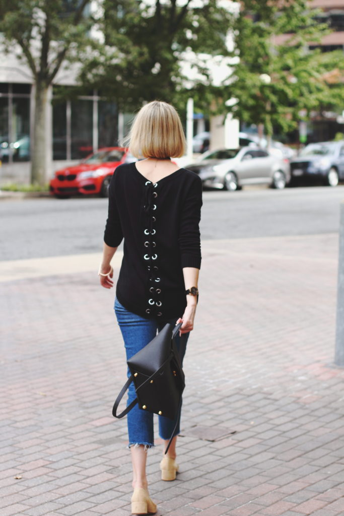 Express lace-up sweater, Topshop denim & Celine bag