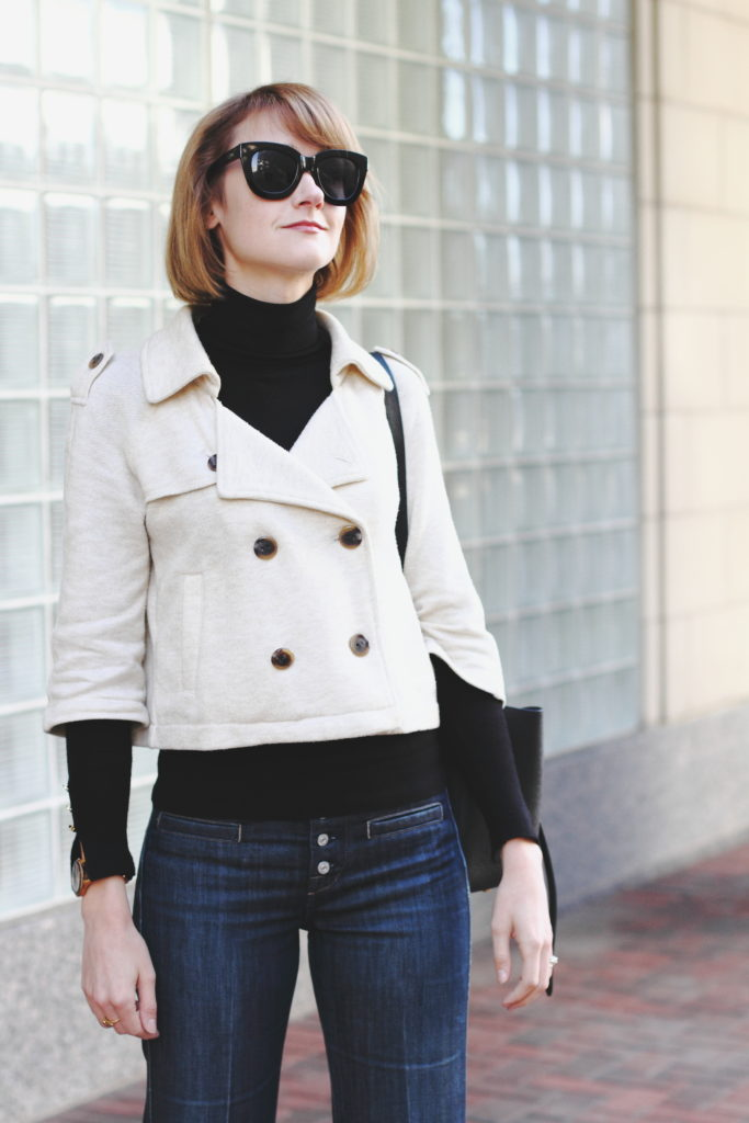 cropped trench and black turtleneck