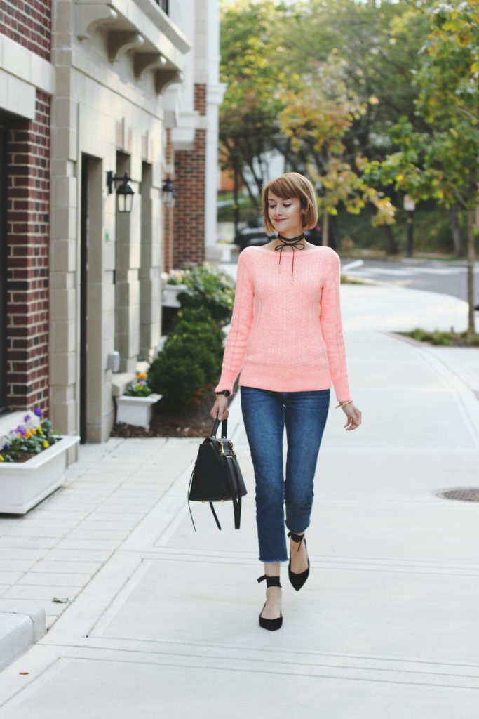 Banana Republic pink sweater and velvet flats