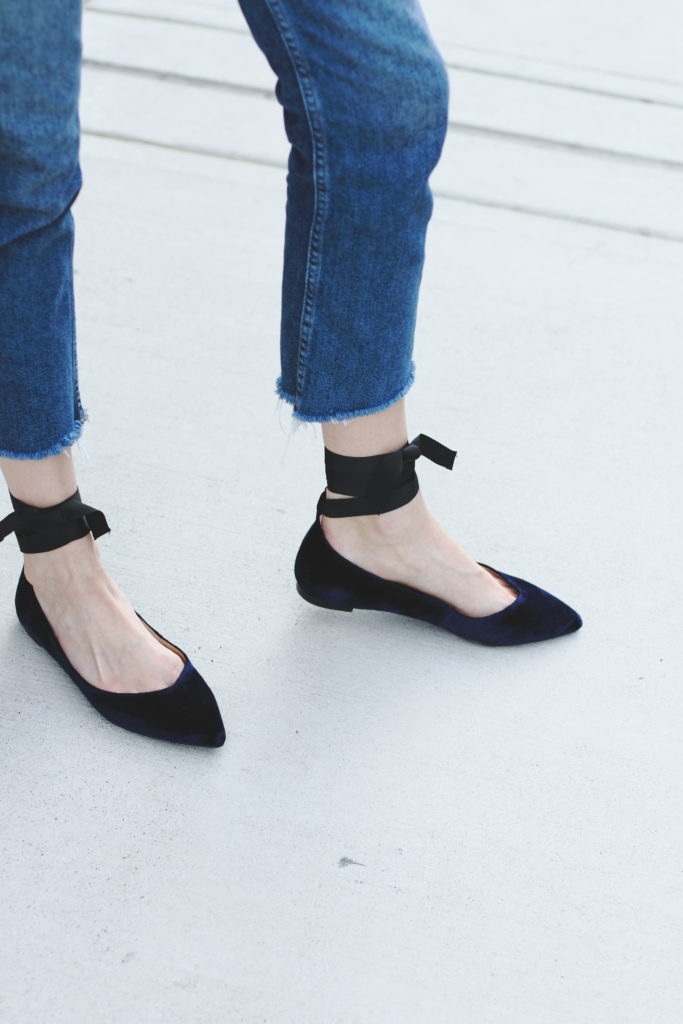 cropped jeans and Banana Republic velvet flats