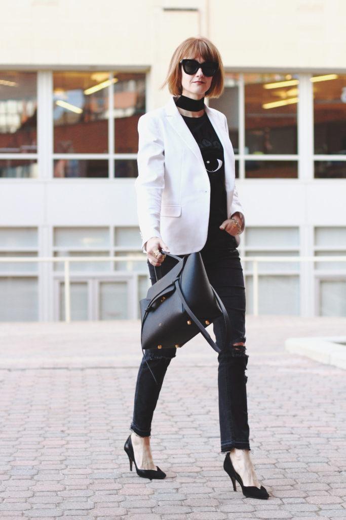 Kenzo t-shirt, white blazer and black denim