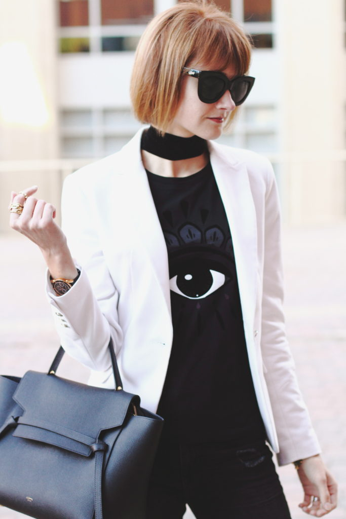 Kenzo t-shirt and white blazer