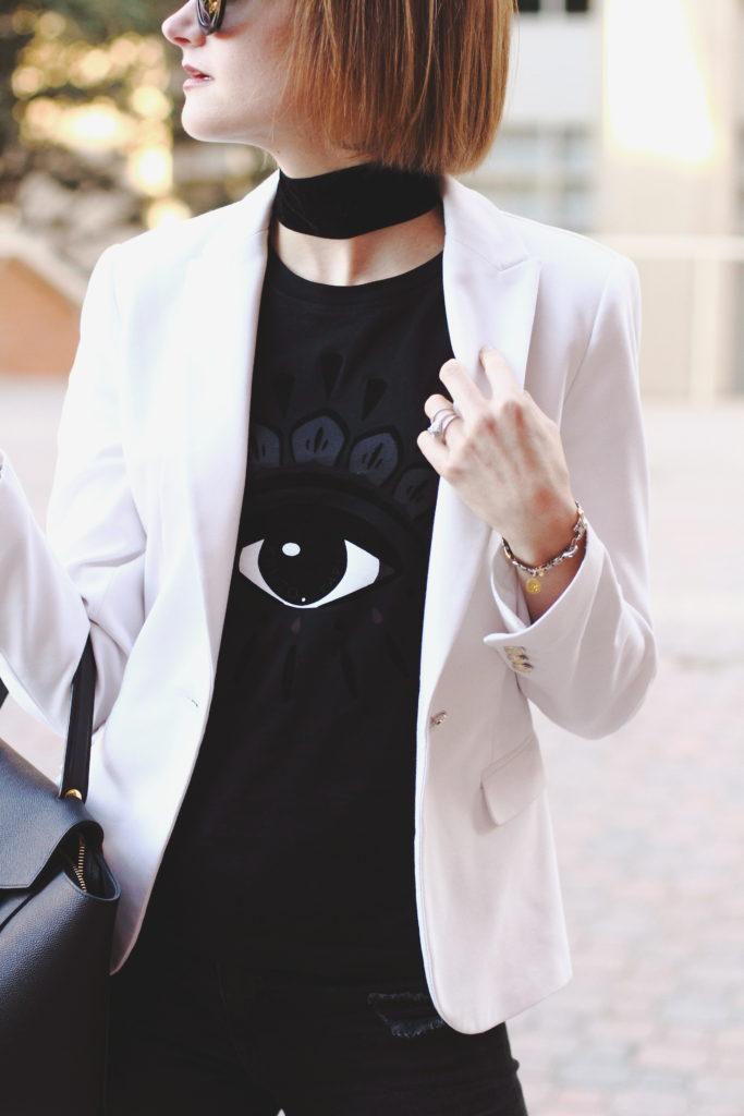 Kenzo t-shirt and white blazer