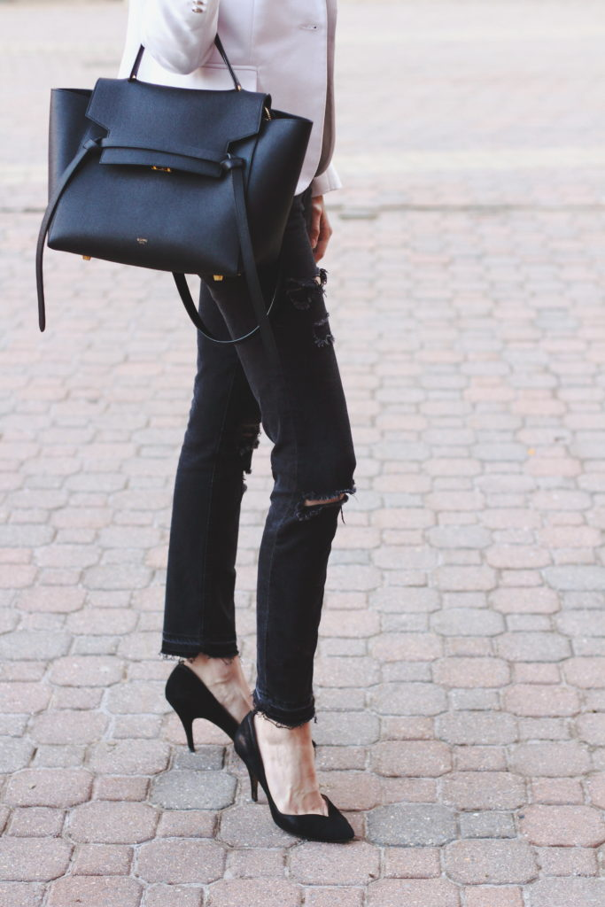 white blazer, black denim and Celine belt bag