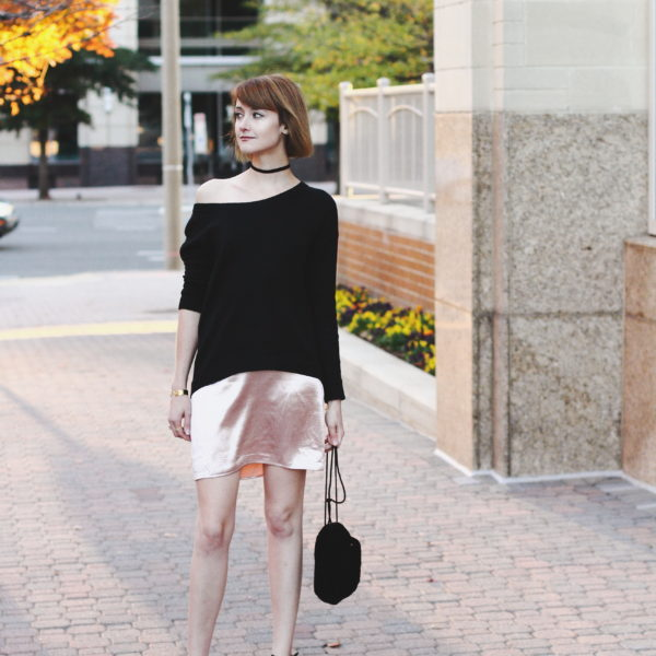 slip dress and off-the-shoulder sweater