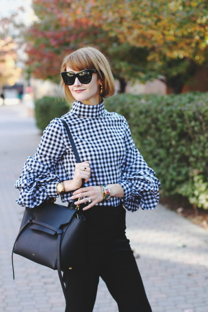Shein oversized sleeve top and Celine belt bag