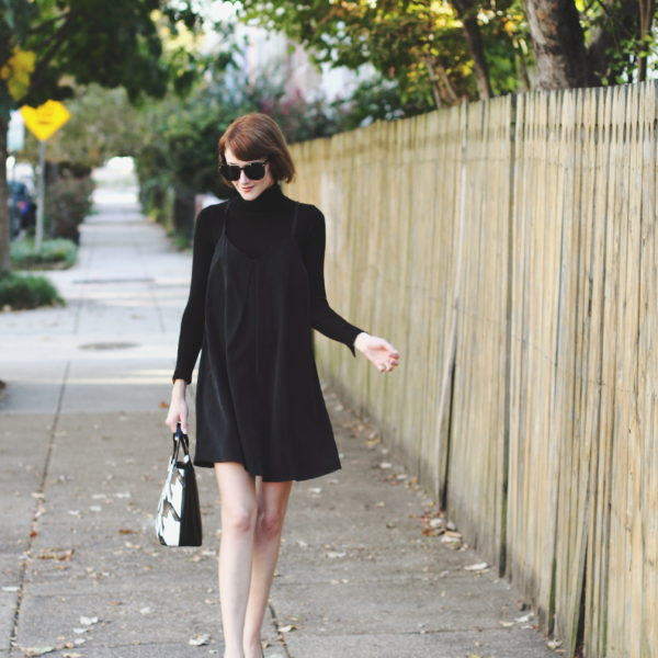 turtleneck and layered slipdress