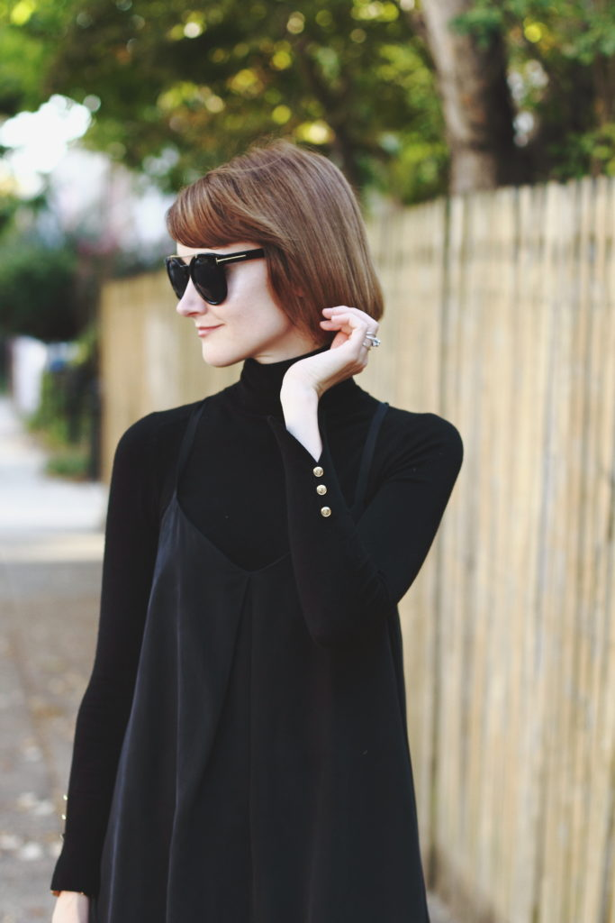 turtleneck with layered slipdress