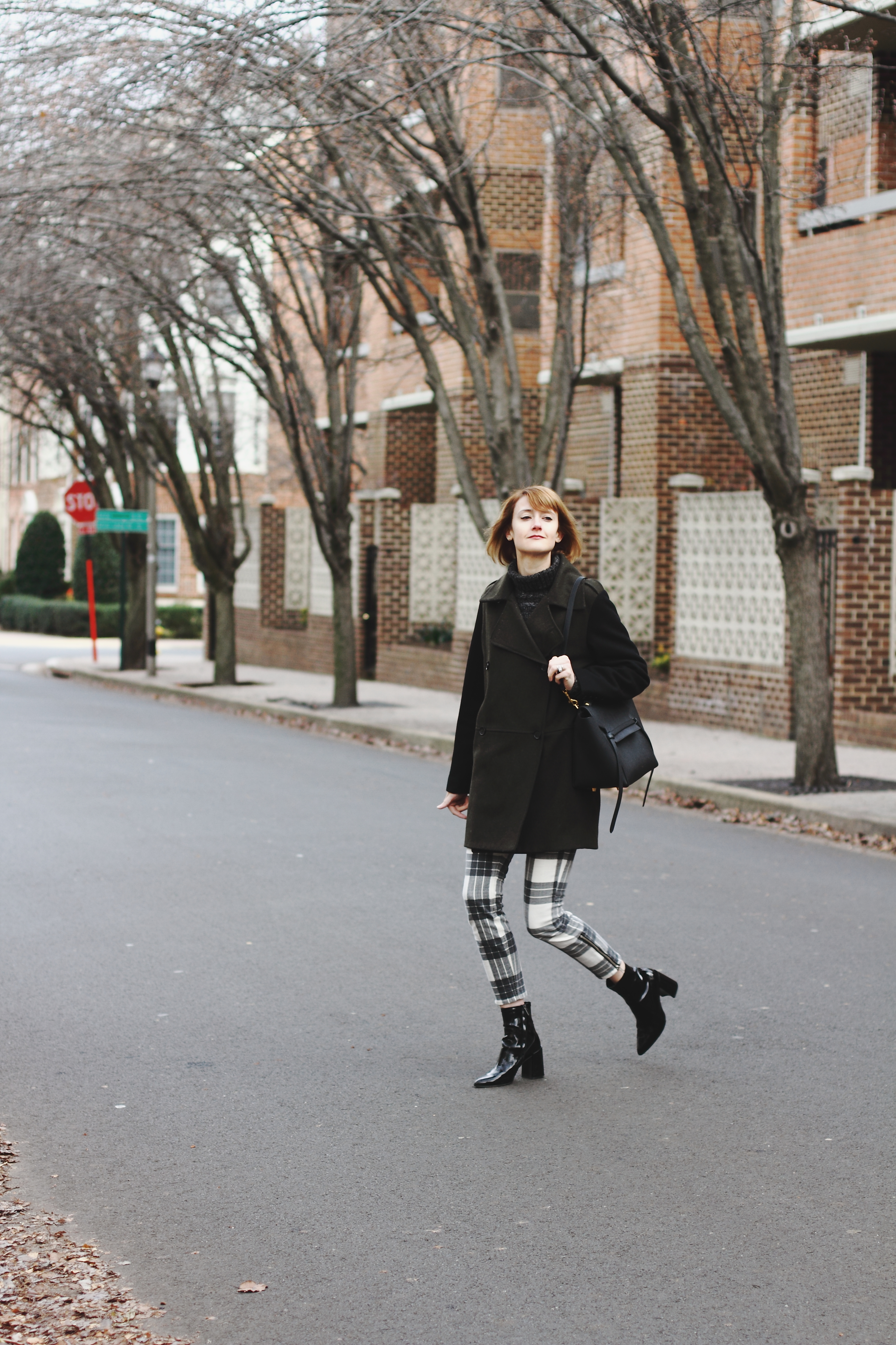 two-tone coat, plaid skinny pants, & ankle boots
