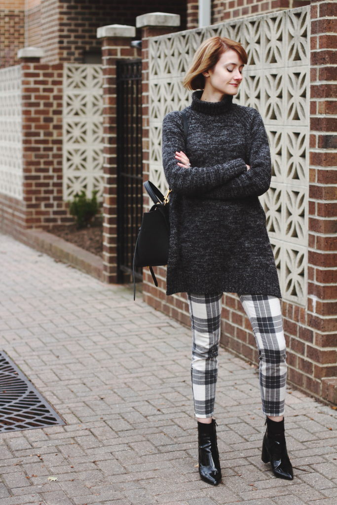 oversized knit, plaid skinny pants, & ankle boots