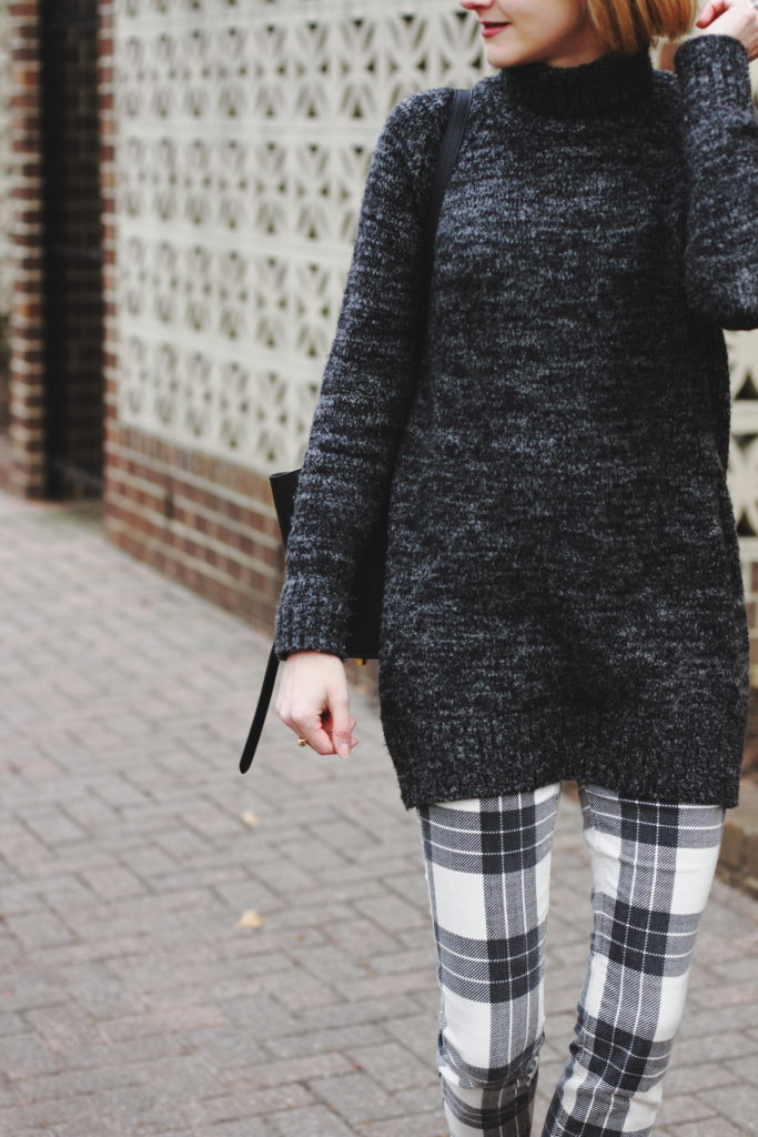 Zara oversized sweater and Mother plaid pants