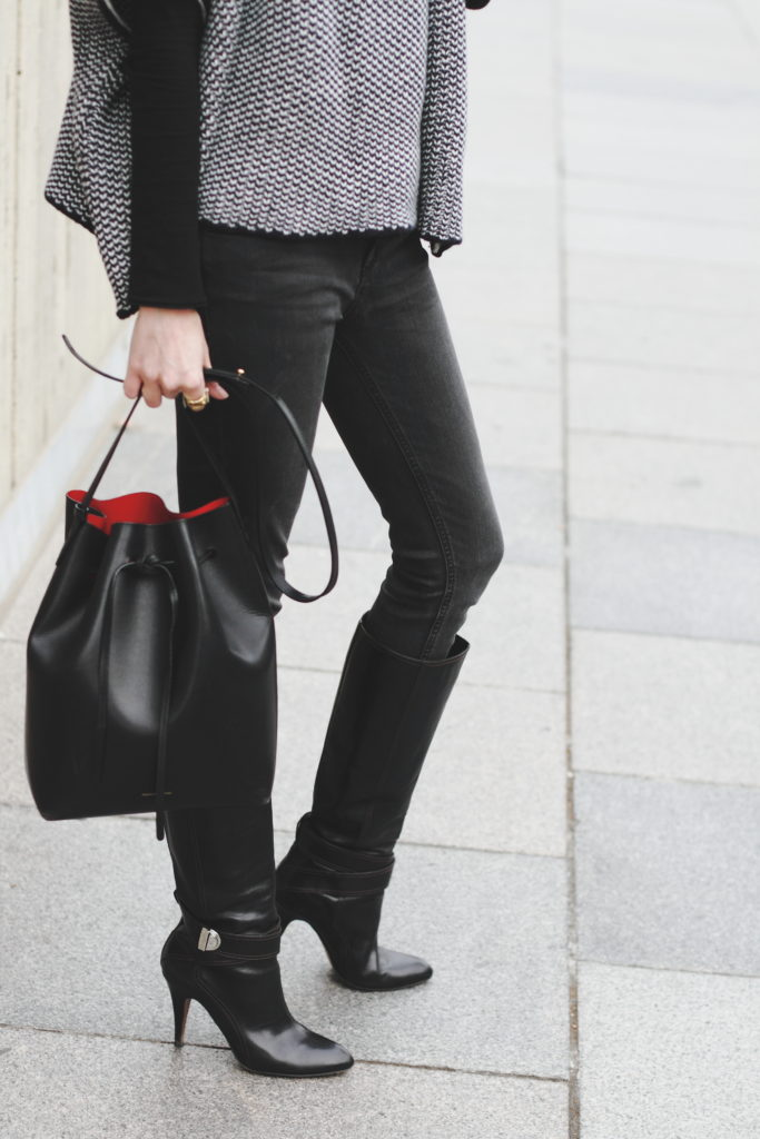 DL 1961 jeans, Karen Millen boots and Mansur Gavriel bag