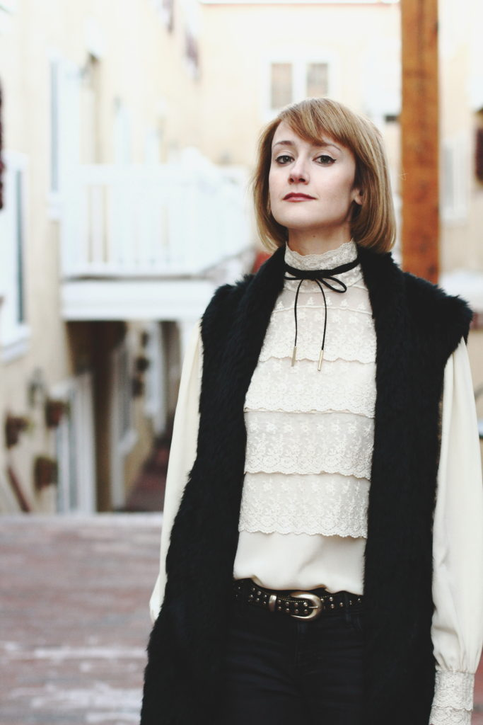 vintage lace blouse, tie choker, and fur vest